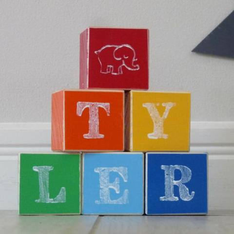 Image of Personalised Colorful Wooden Name Building Blocks