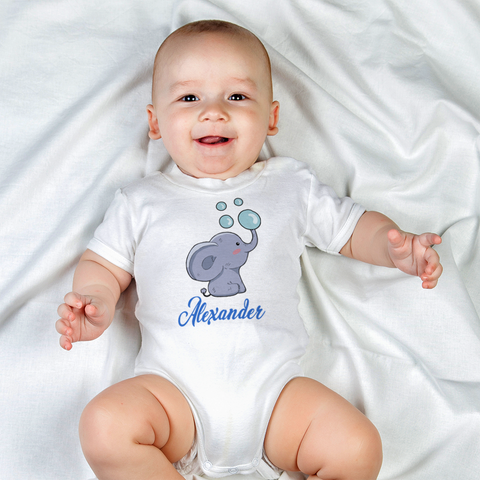 Image of Personalized Elephant Organic Onesie by Toddler Inc