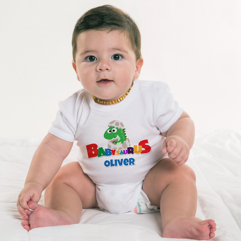 Image of Personalized Babysaurus Organic Onesie by Toddler Inc