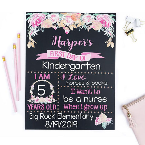 Customized Floral Chalkboard