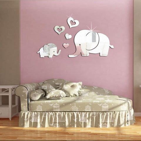 Image of Lovely 3D Mirror Elephant Wall Sticker