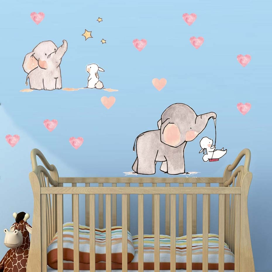 Sweet Elephant & Rabbit Wall Decal