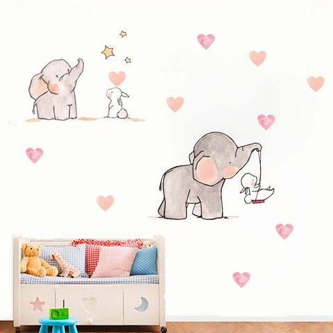 Image of Sweet Elephant & Rabbit Wall Decal
