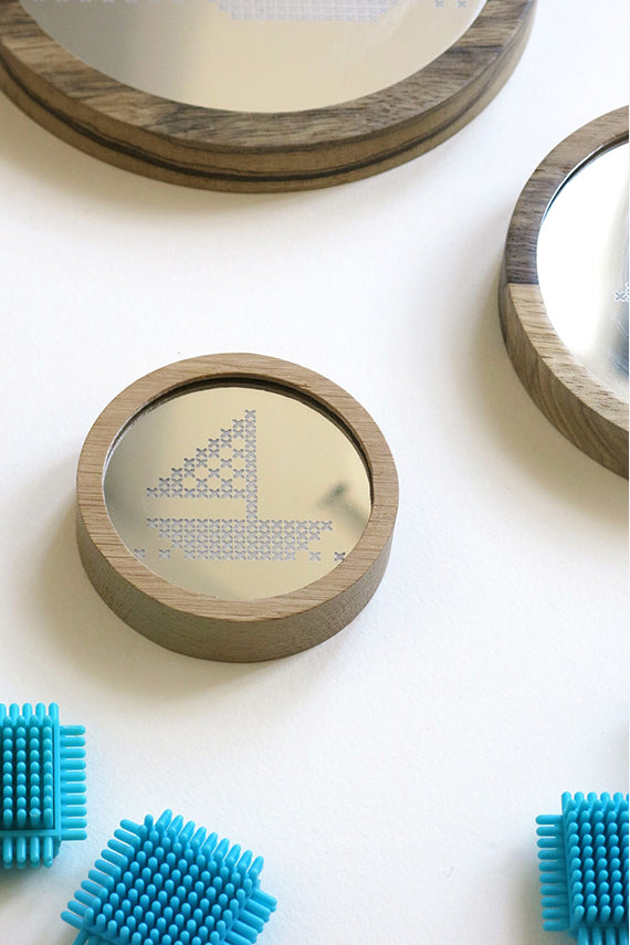 Boat Cross Stitch Mirror