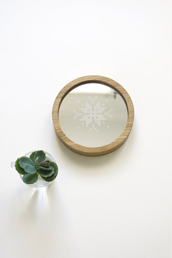 Snowflake Cross Stitch Mirror