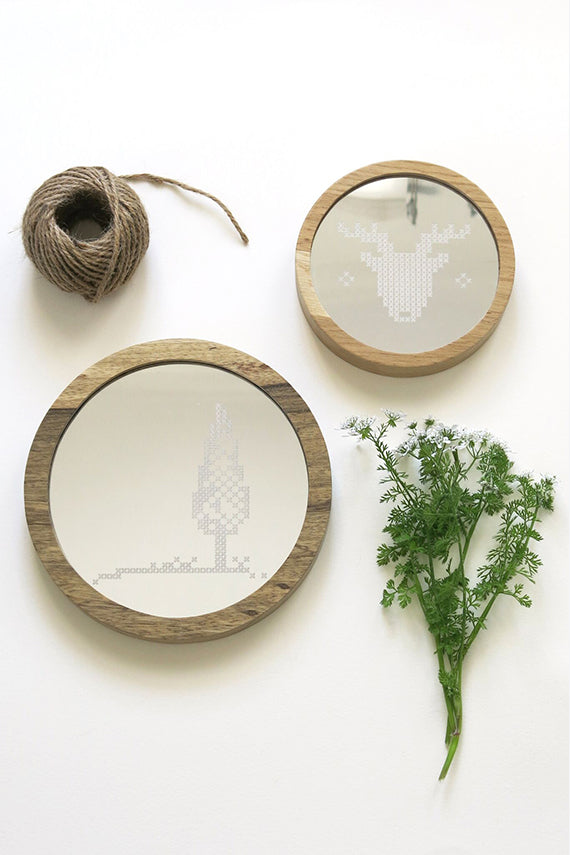 Tree Cross Stitch Mirror