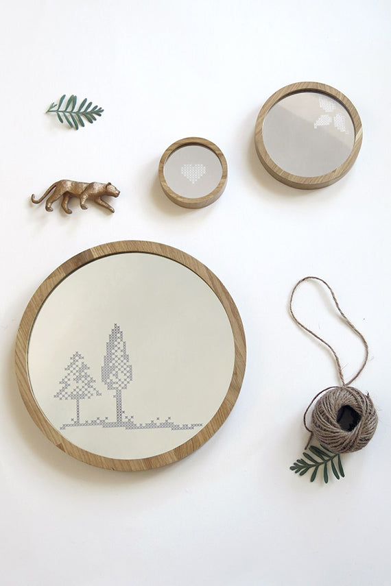 Trees Cross Stitch Mirror