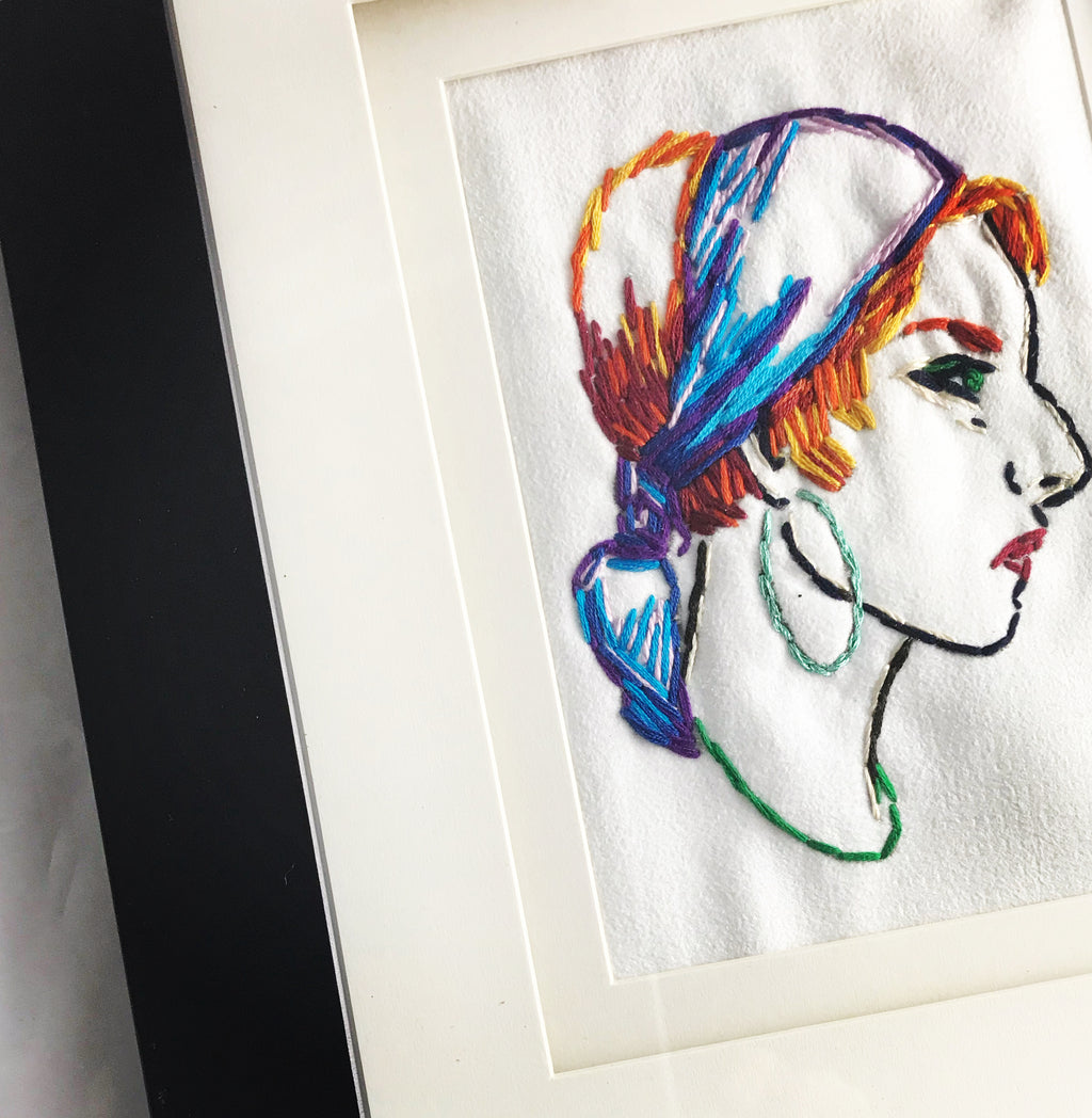 Fortune Teller Embroidered Wall Art - Retro Gypsy Embroidered Art , Framed Mystic Fiber Art Home Decor - Ginger Girl by tickleandsmash