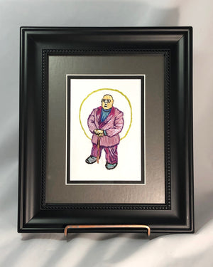 """AYE DIOS MIO"" its El Hefe""  framed embroidery lisa spinella jim tom for tickle and smash"