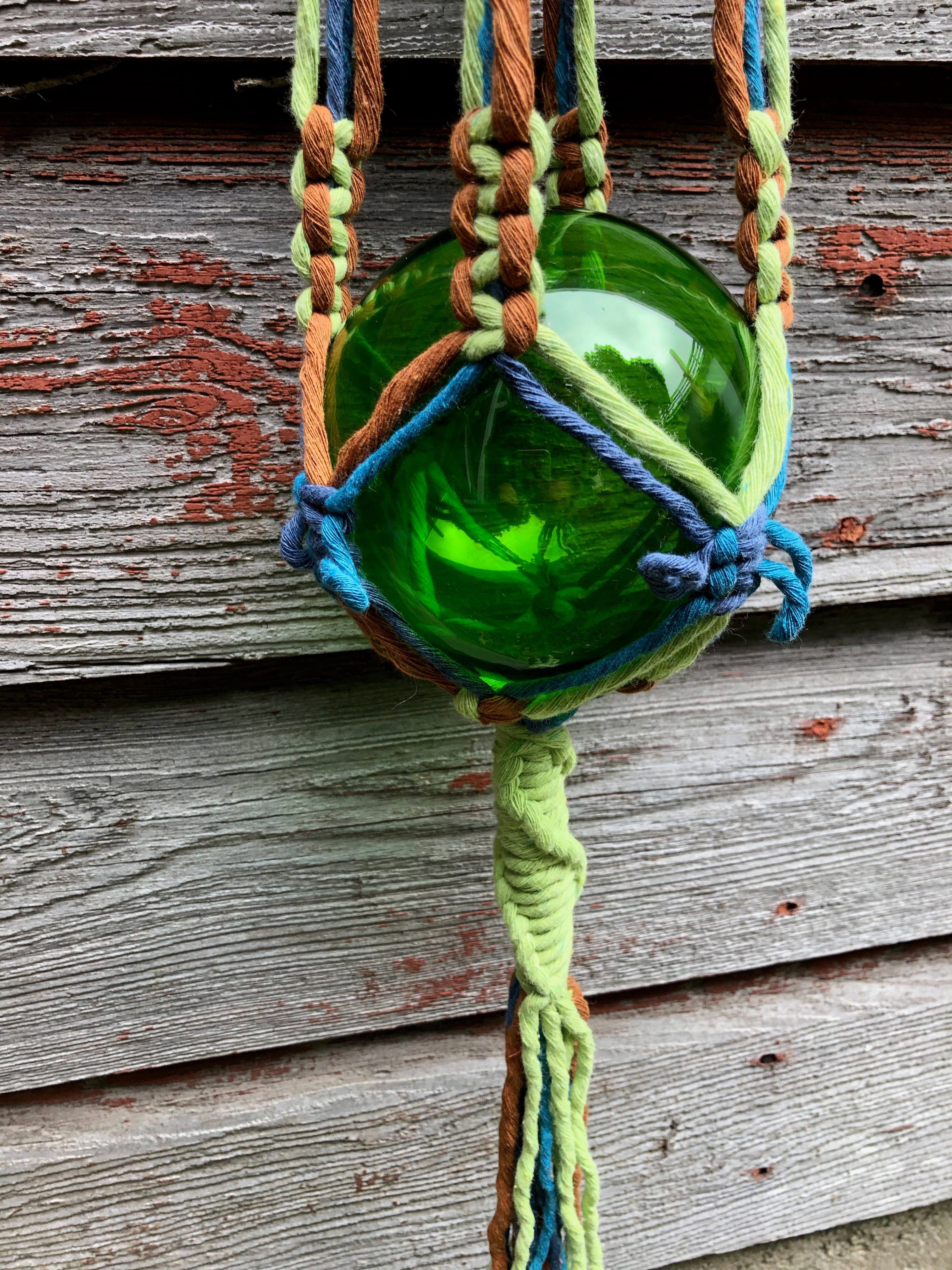 Butterfly Knot Macrame Plant Hanger Made With Super Soft Cotton String and Big Chunky Blue Beads