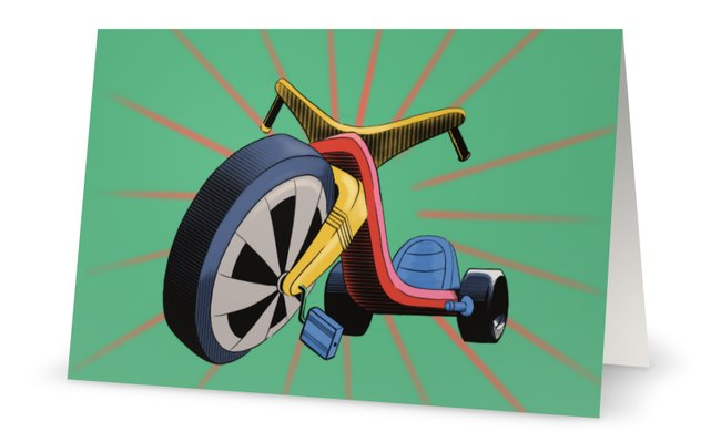 Big Wheel Retro Bike Greeting card illustrated by Jim Tom for Tickle And Smash