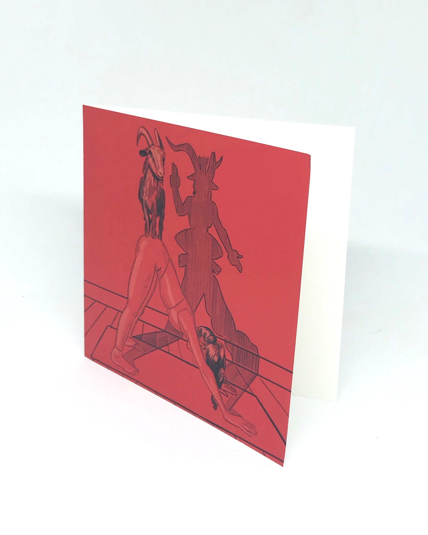 As Above SO Below Goat Yoga - Or Downward Facing Devil - Greeting Card for tickle and smash by jim tom