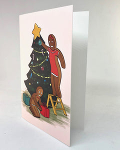 Gingerbread Family Christmas Tree Greeting Card by Jim Tom for Tickle And Smash