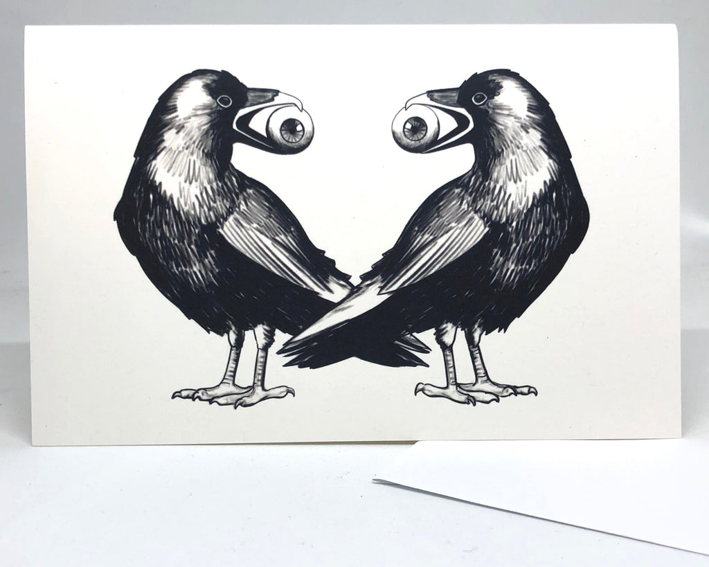 Ravens Greeting Card Occult Cards, Dark Cards, Macabre Cards by Jim Tom for Tickle And Smash