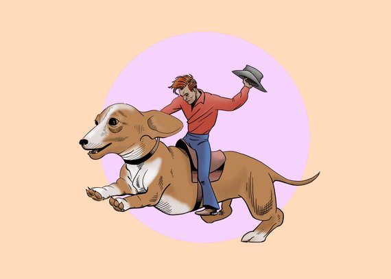 Ride Em Cowboy and Dachshund Western Fantasy Postcard by Jim Tom for Tickle And Smash