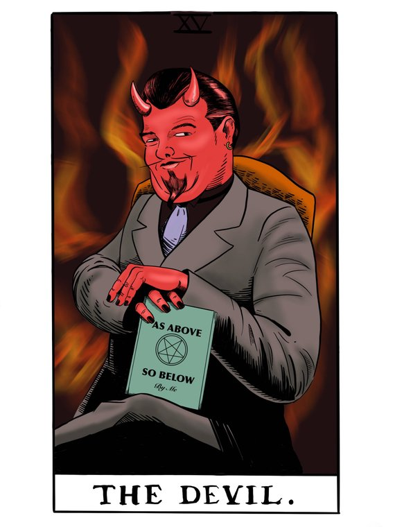 XL Devil Tarot Fortune Telling Post Card  As Above So Below for Snail Mail