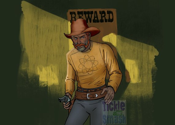 Wanted Cowboy Futuristic, SciFi Cosmic, Western, Reward Greeting Card by Jim Tom for tickle and smash