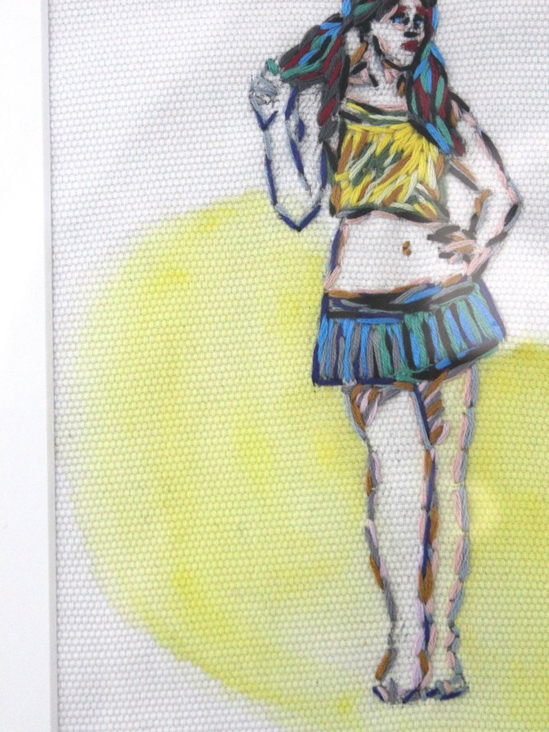 detail Figurative Hipster Embroidered Art in Yellow - Female Positive Home Decor - Framed for Tickle and Smash