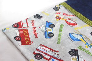 Emergency Hero Pillow Case - Set of two Standard - Ambulance, Fire Men and Air Support by Suzanne Leonhart for Tickle And Smash