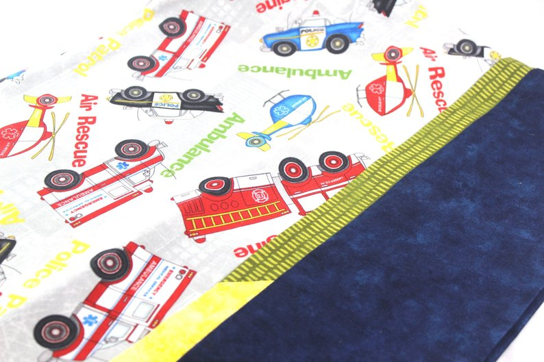 Emergency Hero Pillow Case - Standard Set of two - Ambulance, Fire Men and Air Support by Suzanne Leonhart for Tickle And Smash pillow case emergency hero safety vehicles sue leonhart tickleandsmash home decor bedding
