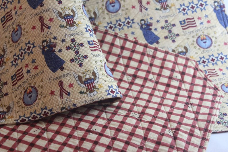 Set of Four Americana ,Patriotic placemats with Liberty, Stars and Stripes. Made by Quilter Sue Leonhart For Tickle And Smash