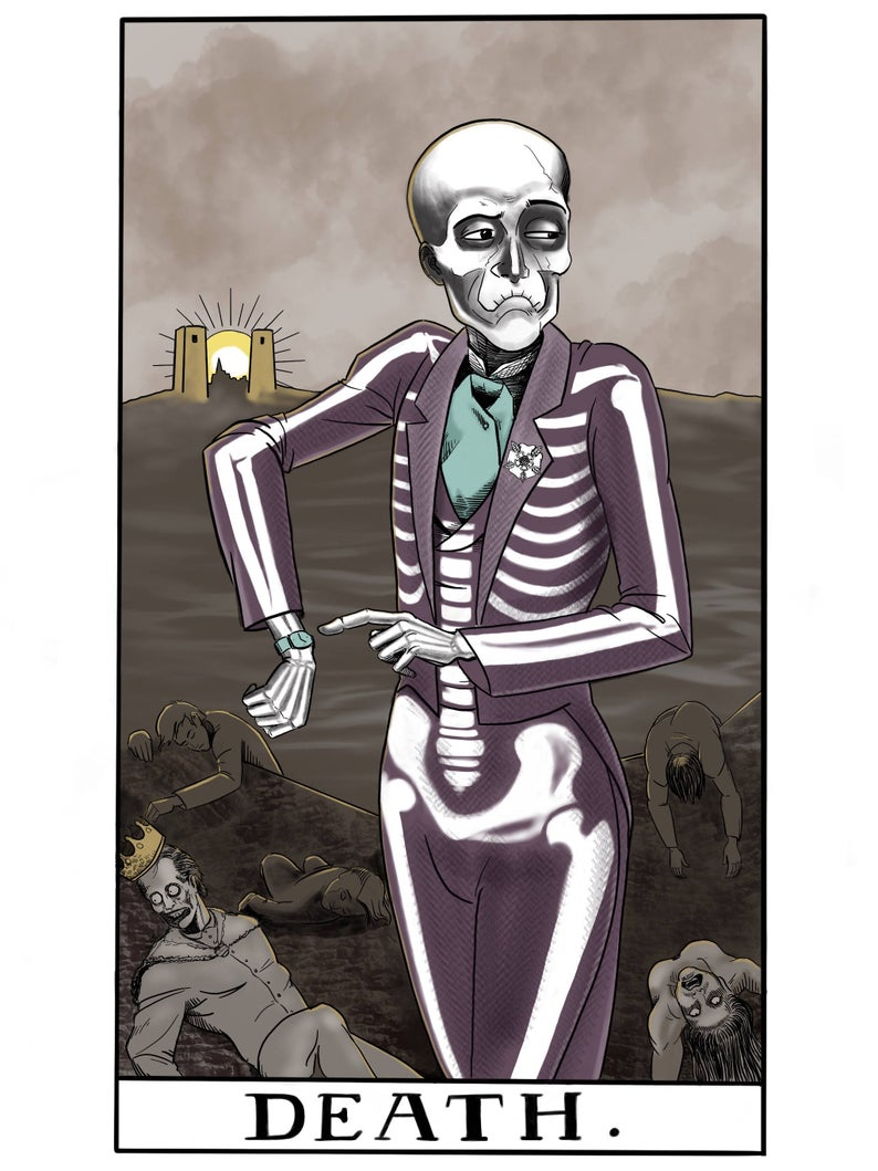 mystic tarot deth greeting card tickle and smash  by jim tom