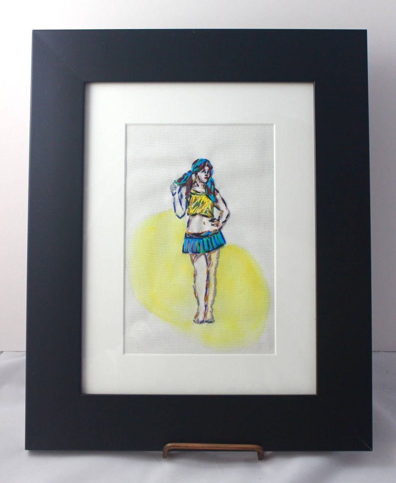 Figurative Hipster Embroidered Art in Yellow - Female Positive Home Decor - Framed for Tickle and Smash