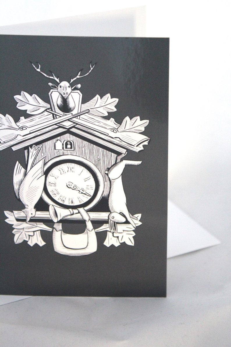 Cuckoo Clock Card - Bavarian Illustration Inspired by Black Forest Design  Made into a Greeting Card.. Welcome Home illustrated by Jim Tom For Tickle And Smash