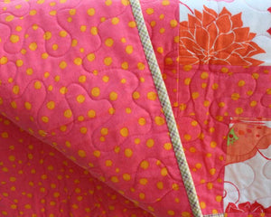 back side Tickled Pink, Plaid, and Polka Dot Flannel Baby Blanket  by Suzanne Leonhart for Tickle And Smash