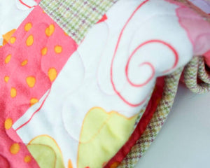 Tickled Pink, Plaid, and Polka Dot Flannel Baby Blanket  by Suzanne Leonhart for Tickle And Smash