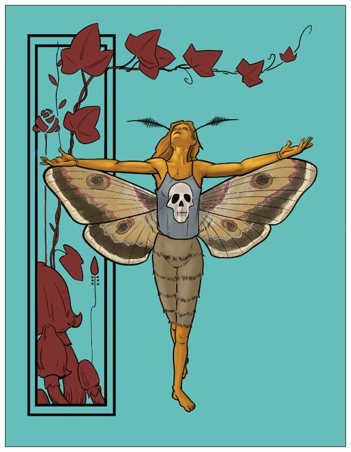Night Dance With The Moon Moth Greeting Card tickle and smash jim tom