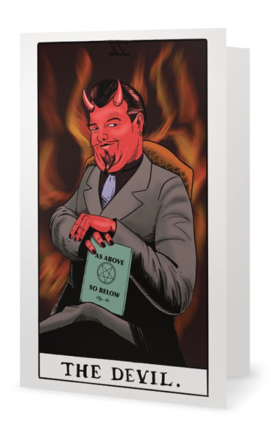 Devil Tarot Occult Fortune Telling Greeting Card illustrated by Jim Tom for Tickle And Smash