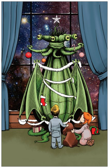 Celebrate The Holidays With the Old Ones - Lovecraftian Cosmic Horror Christmas Card from Jim Tom at Tickle And Smash