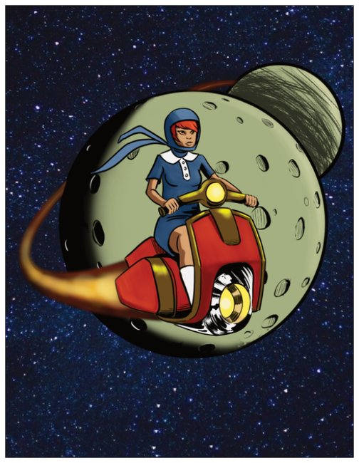 Cosmic Scooter Girl Adventures Greeting Card