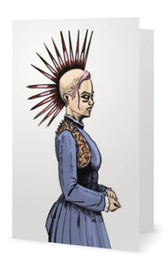 Reimagined 1900s Punk Rock Girl Liberty Spike Greeting Card by Tickle and Smash Jim Tom