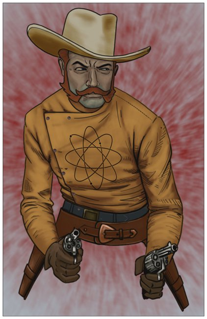 Jimmy Atom Futuristic Retro Western Cowboy Greeting Card