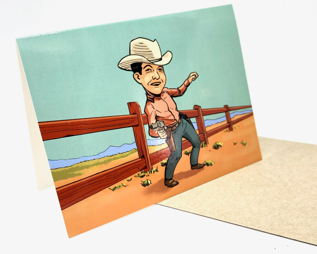 Bang Bang Cowboy Greeting Card by jim tom for tickle and smash