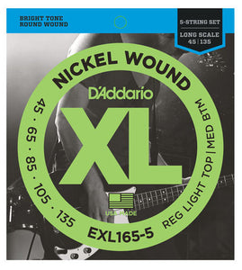 D'Addario EXL165-5 Round Wound 5 String Long Scale Bass Strings - 45-135