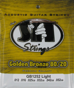 S.I.T. GB1252 Golden Bronze 80/20 Light Gauge 12-52 Acoustic Guitar Strings
