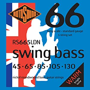 Rotosound RS665LDN Nickel 5 String Long Scale Bass Guitar Strings 45-130
