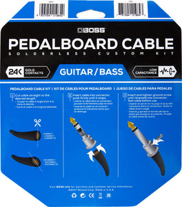 Boss BCK-12 Solderless Pedalboard Cable Kit - 12 Foot of Cable w/ 12 Cable Ends