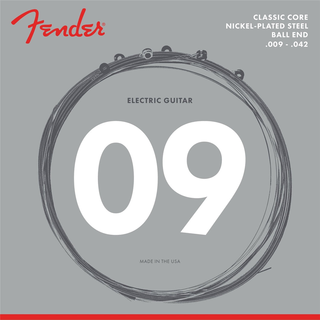 0730255403 Fender Classic Core Electric Guitar Strings, 255L, Nickel-Plated Steel, Ball Ends (.009-.042)