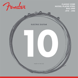 0730255406 Fender Classic Core Electric Guitar Strings, 255R, Nickel-Plated Steel, Ball Ends (.010-.046)