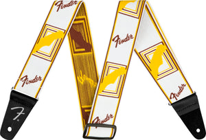 "Fender Weighless™ 2"" Monogrammed Strap, White/Brown/Yellow"