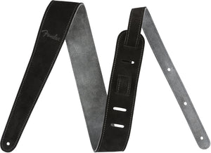 "Fender 2"" Suede Strap, Black/Gray, Reversible"