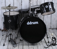 Load image into Gallery viewer, ddrum D2 Rock 4 Piece Drum Set w Hardware and Cymbals Black Sparkle D2R BLK SPKL