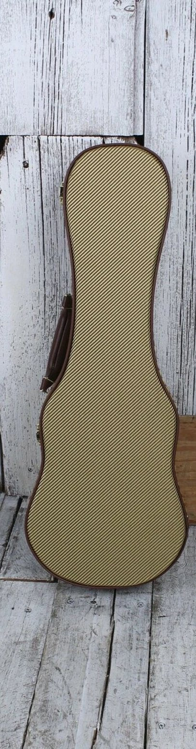 Stagg Soprano Ukulele Hardshell Case Vintage Tweed with Gold Hardware GCX-UKS-GD