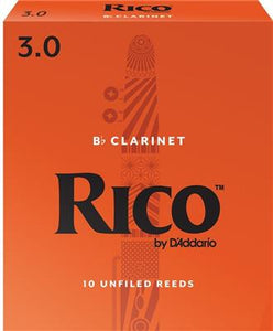 Rico Bb Clarinet Size 3 Reeds - Single Reed