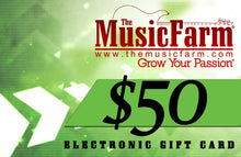 Load image into Gallery viewer, The Music Farm Gift Card - $25 to $500