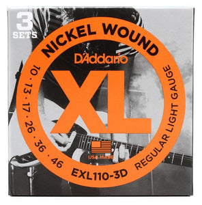 D'Addario EXL110 3 Pack of Electric Guitar Strings 10-46